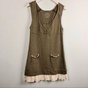 Free People army green mini dress with eyelet trim